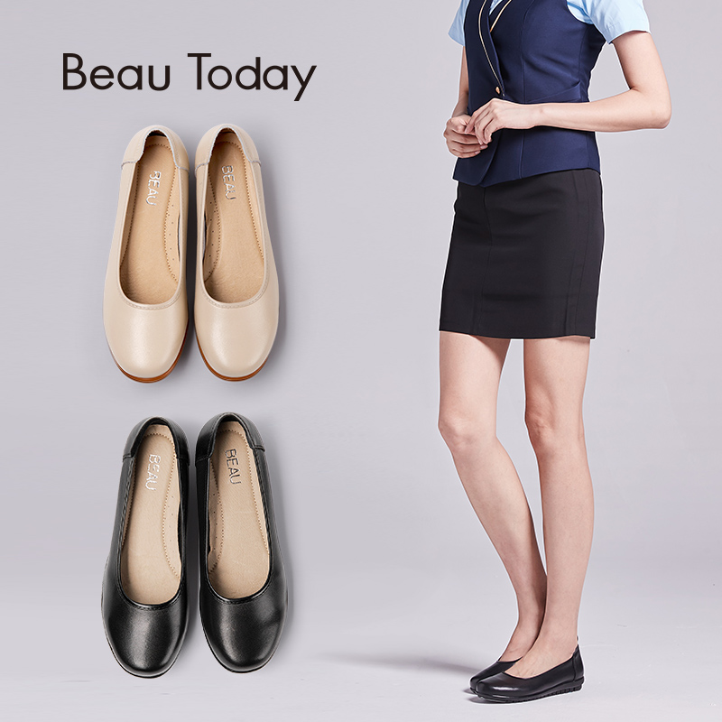 BeauToday Work Shoes Women Round Toe Genuine Cow Leather Slip On Boat Shoes Office Ladies Flats
