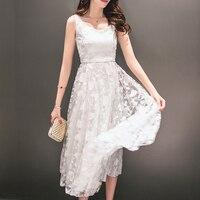 2017 여름 여성의 쉬폰 긴 드레스 여성 꽃 자수 레이스 드레스 여자 섹시한 긴 흰색 꽉 비치 드레스 Vestidos