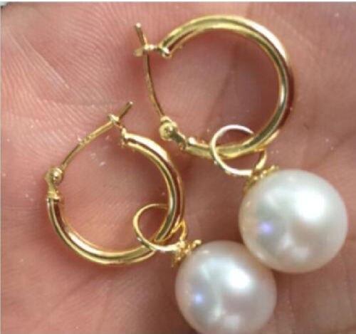 Livraison gratuite charme AAA + 10 - 11 mm blanc australie mers du sud perle boucle d'oreille 14 K