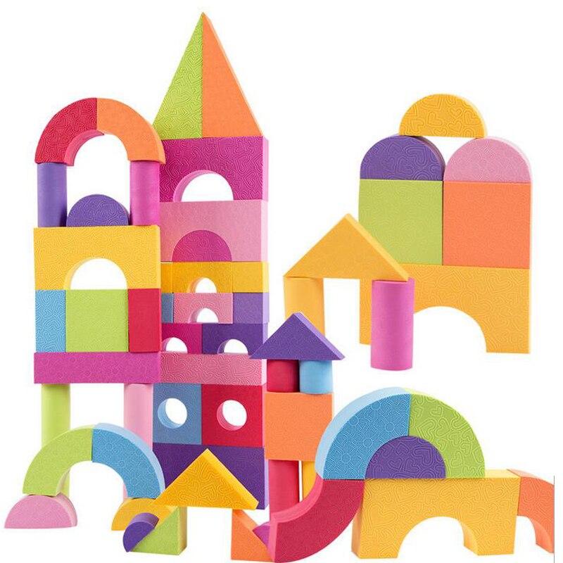 DOLLRYGA EVA Big Building Block 50pcs Knutselen Kinderen Toys For Children Kids Craft Jouet Enfant Lote DIY Colorful Foam Block