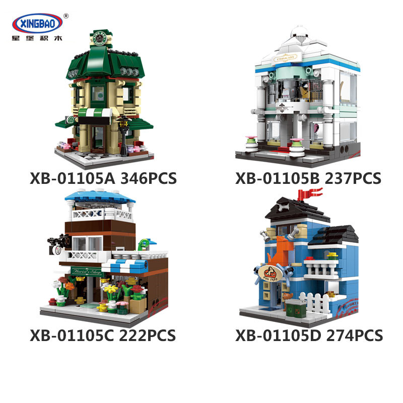 IN STOCK XingBao 01105 1079 Pcs The Coffee Shop Wedding Store Flower Shop Pet Shop Set 4 in 1 Building Blocks Bricks Toys Model