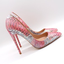 Free shipping fashion women Pumps Pink patent leather printed snake Pointy toe high heels shoes Stiletto Heeled 12cm 10cm 8cm free shipping fashion women pumps casual green patent leather printed pointed toe high heels shoes 12cm 10cm 8cm stiletto heels