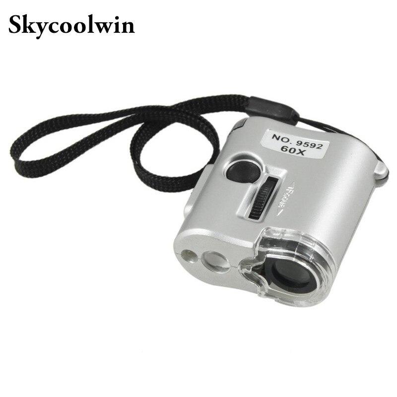 Free Shipping 60 X Microscope Jeweler Loupe Lens Illuminated Magnifier Glass Lupa With LED UV Lights