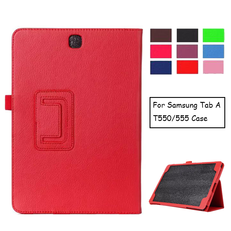 For Samsung Galaxy Tab A 9.7 SM-T550 SM-T551 SM-T555 T550 Case Folding Flip Stand PU Leather Cover Shell Stand Case