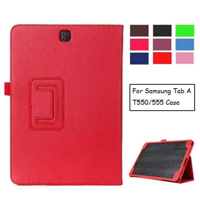 Voor Samsung Galaxy Tab EEN 9.7 SM-T550 SM-T551 SM-T555 T550 Case Folding Flip Stand PU Leather Cover Shell Stand Case