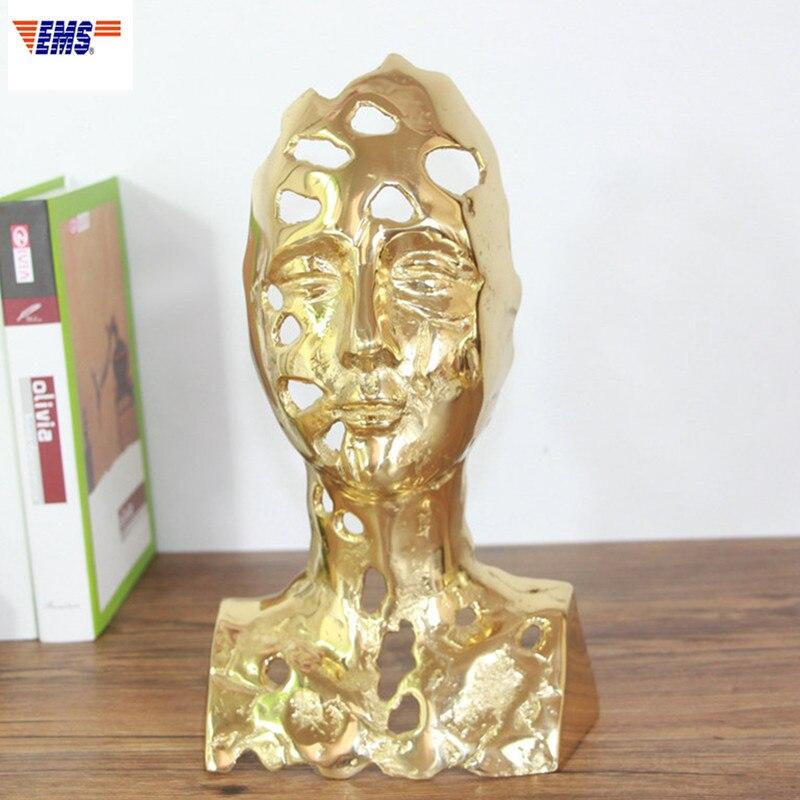 Style chinois percé Figure demi-longueur Portrait jaune laiton Statue décoration créative salon TV banc ornements X1946