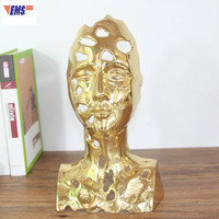 Chinese Style Pierced Figure Half Length Portrait Yellow Brass Statue Decoration Creative Living Room TV Bench Ornaments X1946