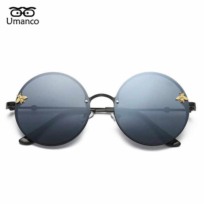 56aaaf57cf Umanco Luxury Round Sunglasses Men Women Designer Brand Fashion Bee Sun Glasses  Vintage Metal Eyewear Male