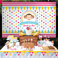 custom happy monkey baby boy flag striped polka dot backdrops High quality Computer print party background