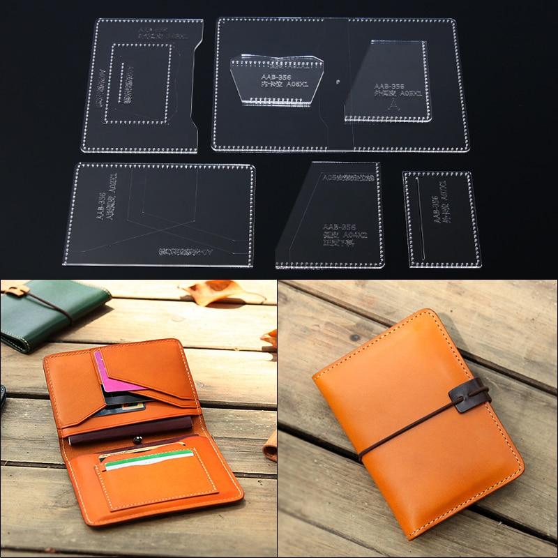 1 Set 11*15*3cm Acrylic Stencil Women Long Wallet Cut Template DIY Leather Handmade Craft Hand Bag Sewing Pattern