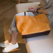 2018 new original handmade leather large-capacity one-shoulder art top layer bag handbag