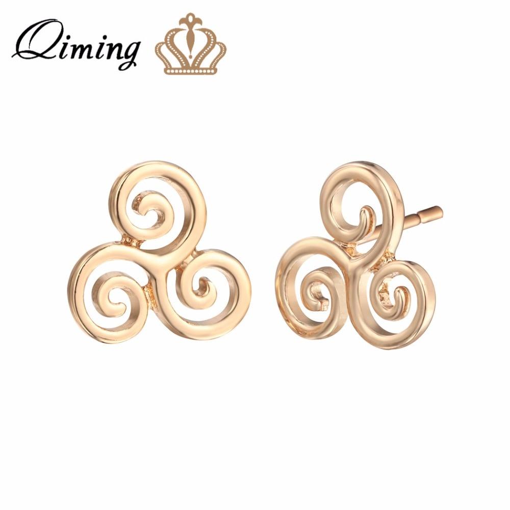 QIMING fashion Triskelion Dangle Hook Stud Earrings For Women Nice Jewelry Design Simple Gold Vintage Earrings Bijoux Femme| |   - AliExpress