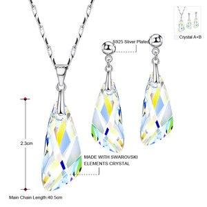 Image 2 - Neoglory kristal takı seti geometrik tarzı S925 gümüş kolye & küpe Swarovski kristalleri ile süslenmiş