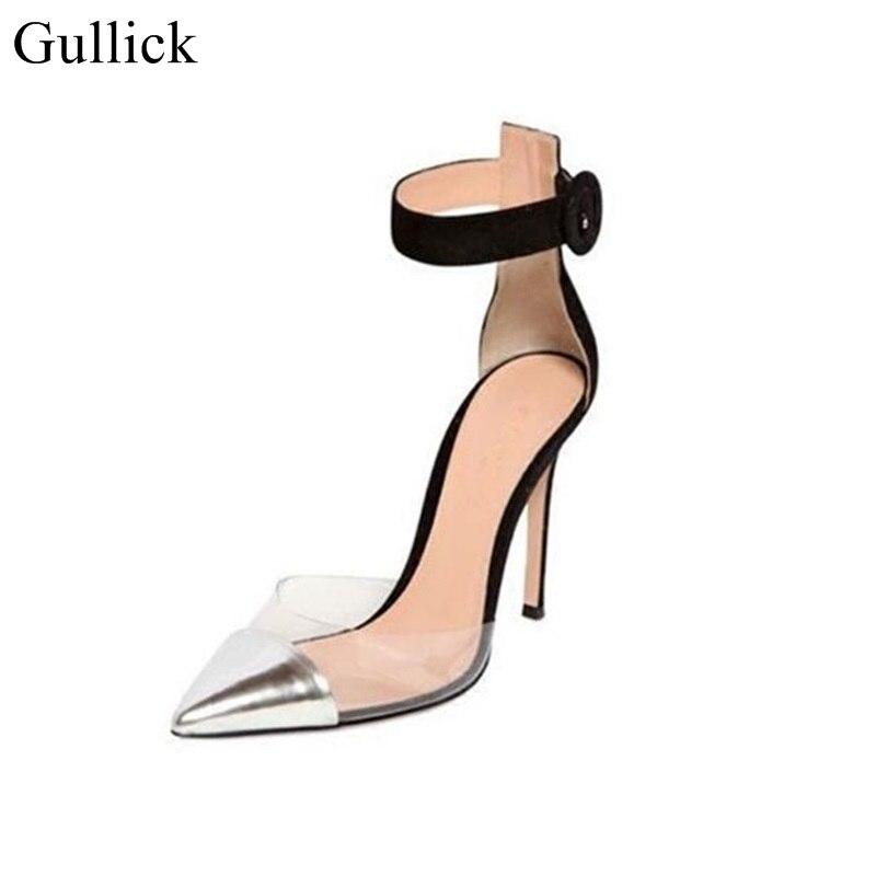 2018 Spring Summer PVC Pumps Pointed Toe Ankle Strap Buckle Cap Toe Shoes Women Cut-out Transparent Silver Black Patchwork Pimp