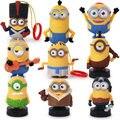 New 2015 9pcs Full Set McDonald Minions Cartoon Dolls Small Decoration Hand-done Toy 2011 Kung Fu Panda Toys