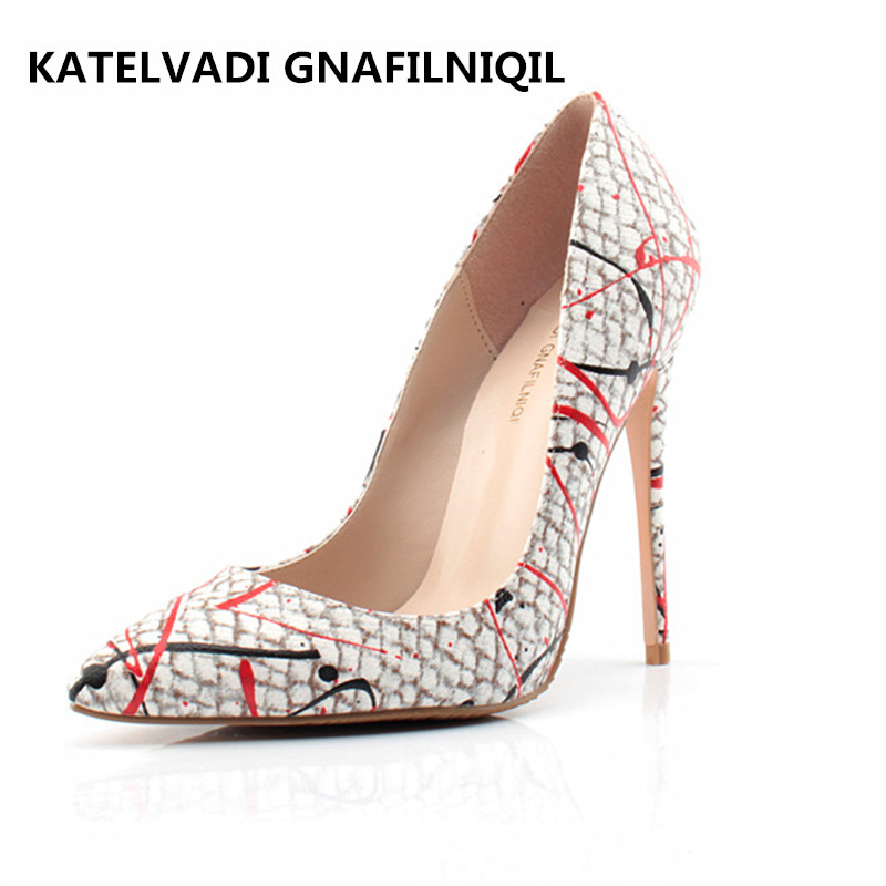 Women Pumps Sexy Graffiti High Heels Shoes Fashion Snake Printed Wedding Party Shoes New 2017 Autumn Shoes FS-0101 siketu 2017 free shipping spring and autumn women shoes fashion sex high heels shoes red wedding shoes pumps g107