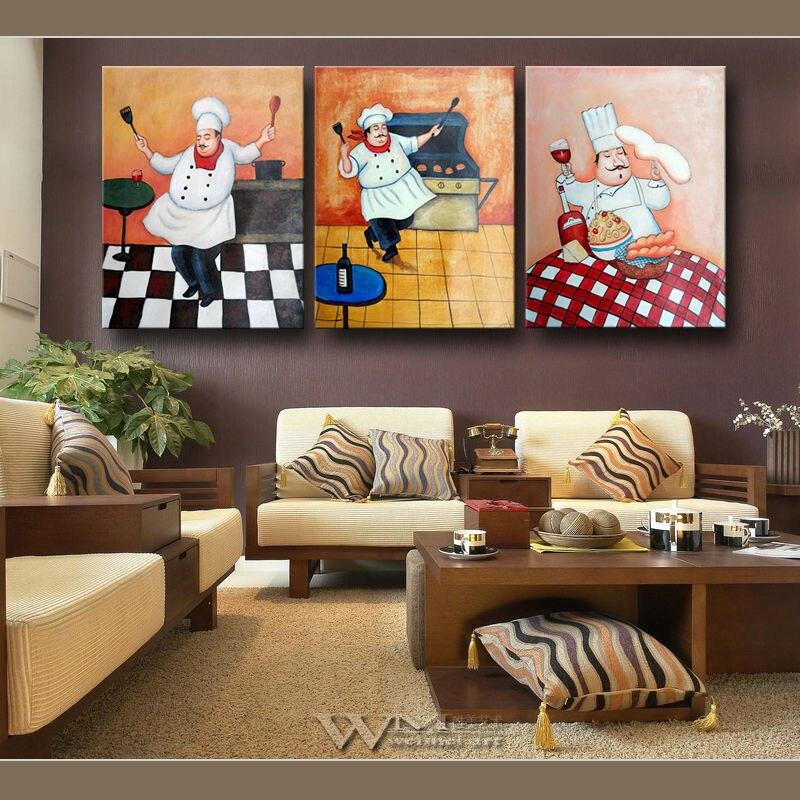 Hand painted pintura a leo moderna retrato hotel for Cuadros para cocina vintage