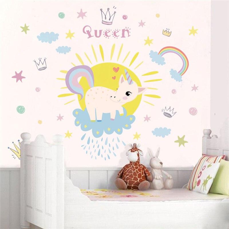 Einhorn Wandaufkleber Regenbogen Wandtattoo Kunst Madchen Kinderzimmer Home Garden Decals Stickers Vinyl Art