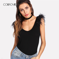 COLROVIE Faux Feather Shoulder Scoop Neck Tee 2018 New Summer Sleeveless Scoop Neck Party Woman Top