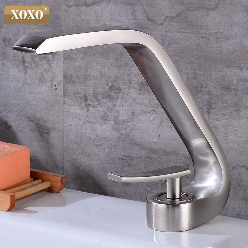 XOXO Basin Faucet Brass Cold and Hot Brush Nickel Bathroom Faucet Basin Sink Mixer Tap Single handle Single Hole Faucet 83009   XOXO Basin Faucet Brass Cold and Hot Brush Nickel Bathroom Faucet Basin Sink Mixer Tap Single handle Single Hole Faucet 83009