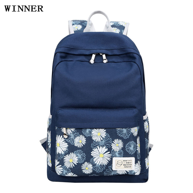 c01e60ae06 Korean Casual Younger ladys flower printing backpack beautiful nice canvas  simple double zipper bagpack for students Elegant