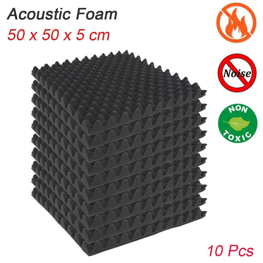 10 pièces 500X500X50mm mousse d'insonorisation mousse acoustique traitement du son Studio chambre Absorption carreaux mousse de polyuréthane