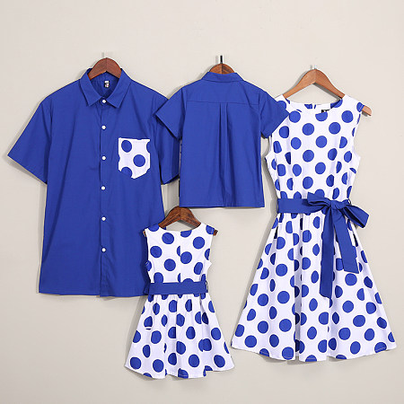 Mother Daughter Elegant Dots Dresses | Father and Son Shirts