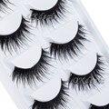5 Pares de la Porción Negro Grueso de Pestañas Falsas Largo Suave Hecho A Mano Natural Maquillaje de Ojos Falsos Pestañas de Extensión para Las Mujeres