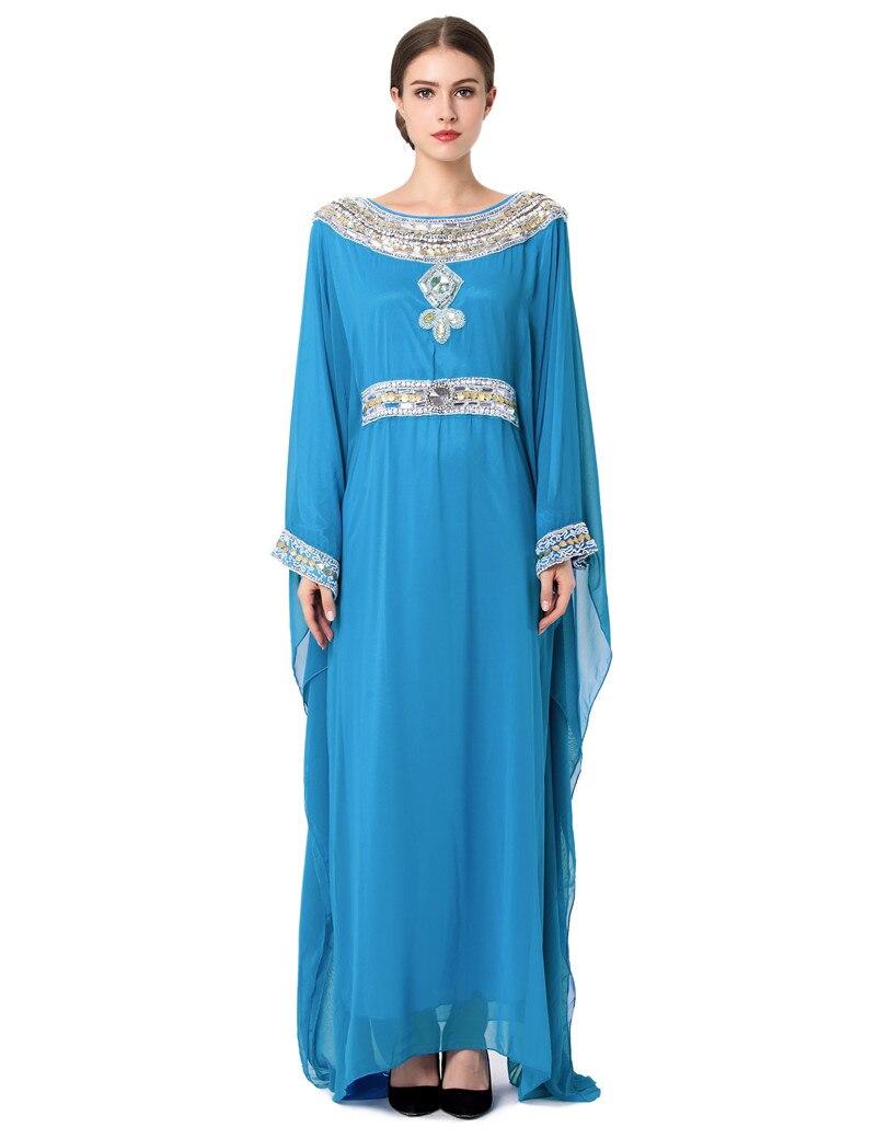 2017 Embroidery Long Sleeve Muslim Dress Gown Dubai Moroccan Kaftan Clothing Caftan Islamic ...