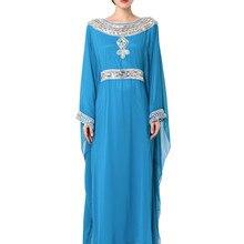 4c1918245 2019 Bordado manga comprida vestido de muçulmano vestido Dubai Kaftan  marroquino Caftan vestuário Islâmico mulheres Abaya
