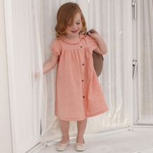 New pull sleeve casual girls dress linen peter pan collar dresses girls clothes for 4-9T babys