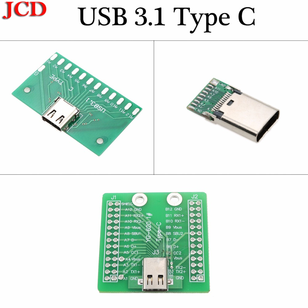 JCD USB 3.1 Type C Connector 24 Pins Female Socket Receptacle Adapter To Solder Wire & Cable 24P PCB Board Support Test Board