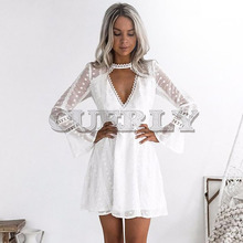 CUERLY Women White Summer Dress Solid Floral Crochet Lace High Chocker Plunge V Neck Dress Flare Sleeve Mini Elegant Vestidos burgundy plunge cami mini dress with lace details