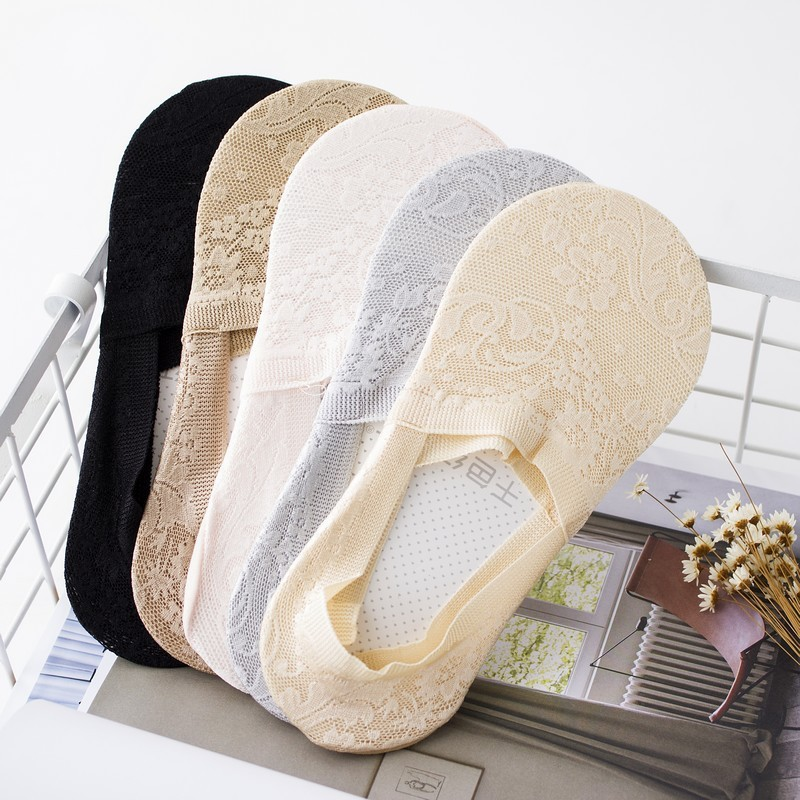 Summer women girl Silica Gel Lace Boat Socks Invisible Cotton Sole Non-slip Antiskid Slippers Anti-Slip Sock 1pair=2pcs ws400