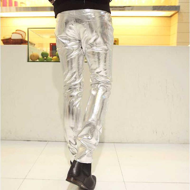 גברים באביב ובסתיו מכנסיים סקיני PU slim mens פו, ארוך אופנוע מכנסי עור הדוקים גברים גודל שחור S-4XL