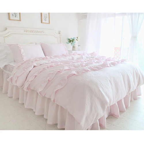 Textile Beautiful Pink Lace Ruffled Comforter Sets Duvet Cover Twin Queen King Size Duvets Bed In Bag Set Cute Bedding From Home
