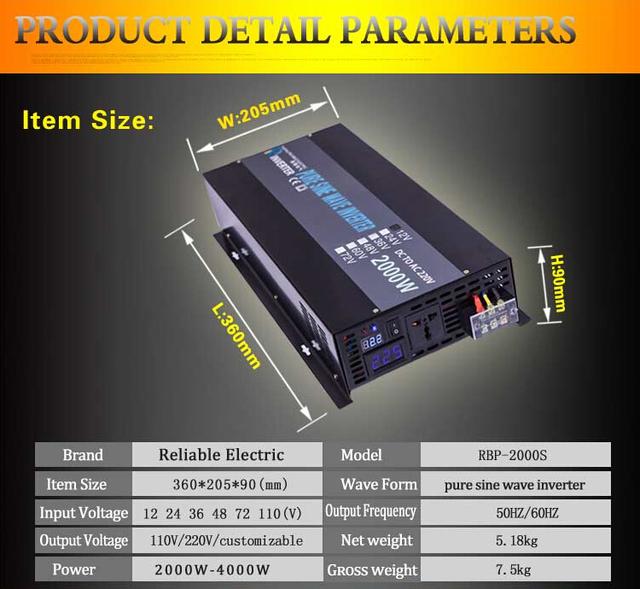 2000W 12V 230V DC To AC Converter LED Display Iron Shell Off Grid Pure Sine Wave Solar/Car/Household Power Inverter