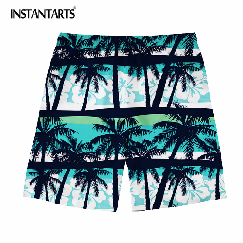 INSTANTARTS Summer Hawaiian Men Beach Shorts Tropical Forest Printed Breathable Male Board Short Boys Fashion Quick Dry Shorts