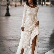 Винтажное кружевное ТРАПЕЦИЕВИДНОЕ скромное свадебное платье с длинными рукавами с жемчужным вырезом Свадебные платья Boho с рукавами с низкой спинкой от кутюр на заказ