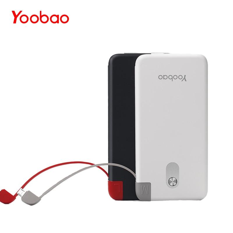S5K Yoobao 5000 mAh Embutido Cabo Destacável Bateria Externa Banco de Potência Ultra Fino Powerbank Carregador Portátil para o Telefone Móvel