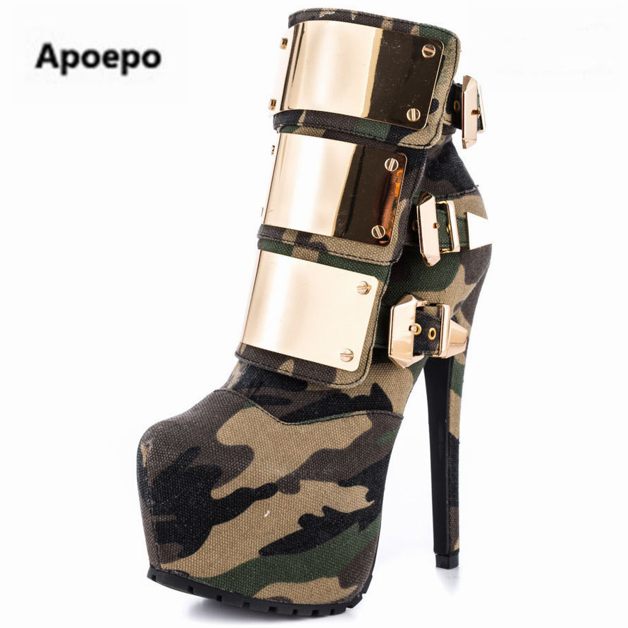 Apoepo brand boots women winter platform shoes Punk camouflage gladiator high heels ankle boots for women metal decor short boot brand new suede leather women platform boots famous designer high heels dress shoes woman gladiator luxury women ankle boots