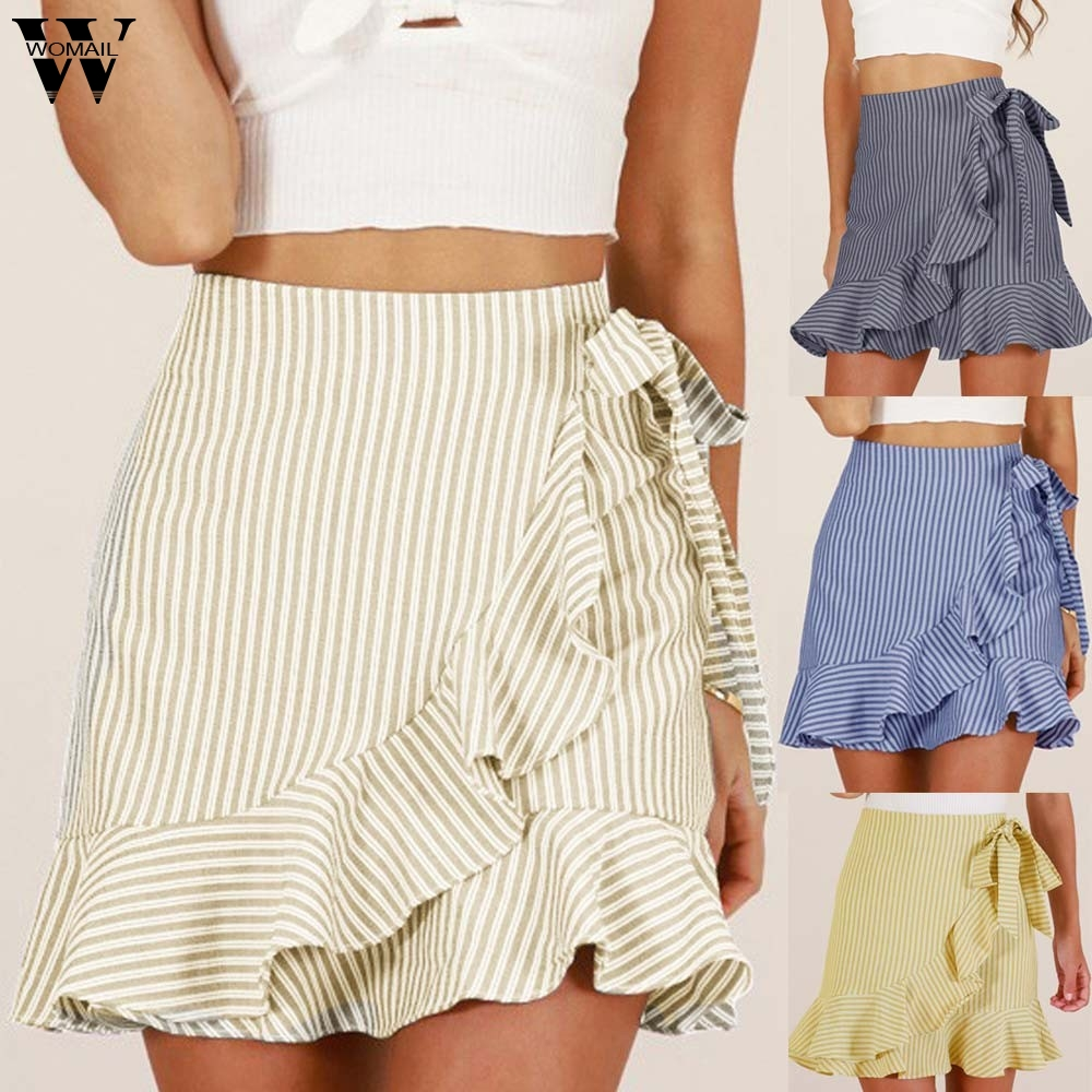 Womail Women Skirt Summer Fashion High Waist Stripe Party Short Skirt Uniform Mini Skirt Tutu Sexy Ruffle Beach Casual 2019 J71