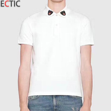 ECTIC Men polo shirt Cat embroidery decoration new fashion man Business polos 100% cotton M-XXL