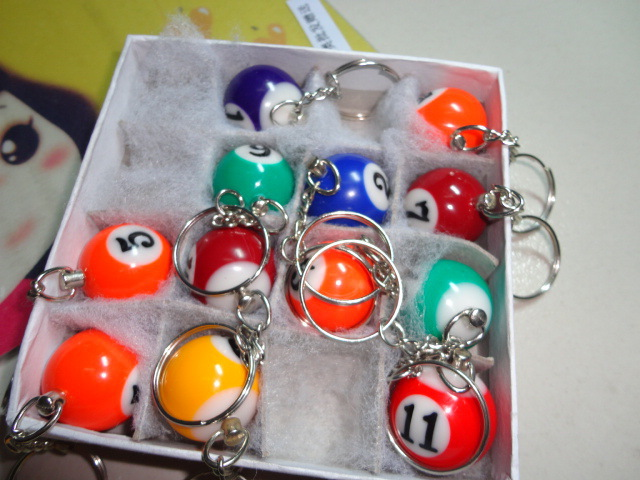 DHL Free shipping 160pcs Pool Billiard snooker table ball keychain keyring Party Favor Gifts