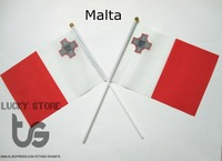 Malta  Banner  free shipping Hand waving Flag Malta National Flag 14*21 cm