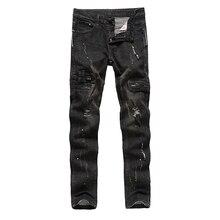 HUIHONSHE High Quality Mens Ripped Biker Jeans 100% Cotton Black Slim Fit Motorcycle Jeans Men Vintage Distressed Denim Jeans