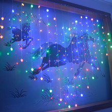 JSEX LED Heart Light Curtains Lamp Fairy Lights Christmas String Garland New Year Holiday Lighting Home Decorations