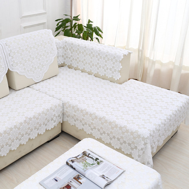 1pcs White Lace Sofa Towel Mat Backrest Armrest Cover Refrigerator Tv Covers Used For