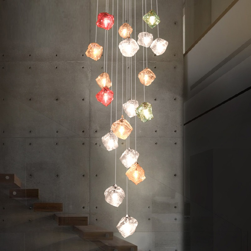 Color Glass Hanging Lamp LED Pendant Lights Creative Stone Shape Hanglamp Duplex Pending Lighting Fixtures Stainless Steel Lamps