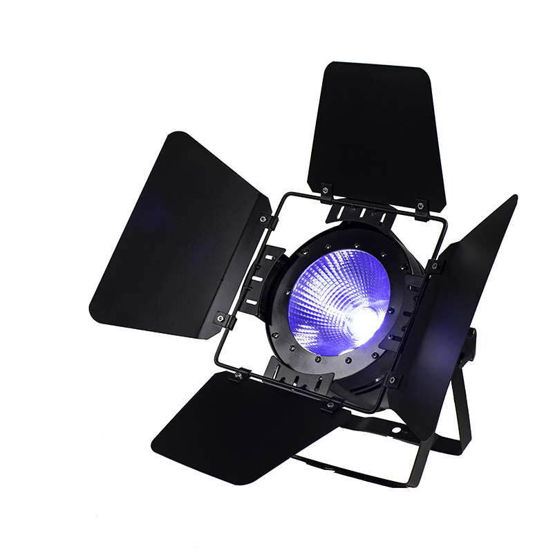 Fast shipping LED Par COB 100W RGBW 4IN1 Lighting with Barn Doors High Power Aluminium Lighting For DMX512 Stage Effect t 8 lot 100w rgbw 4 in 1 cw ww cob par 64 led stage studio par light with barn doors